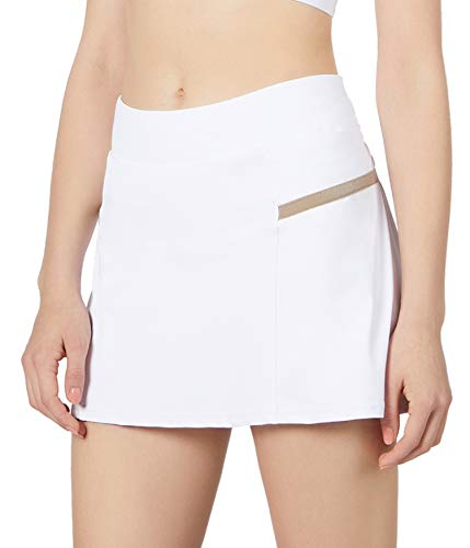 POSHDIVAH Athletic White Skorts for Women Pleated Back Girls Tennis Skirts with Pockets Casual Golf Skorts Size L