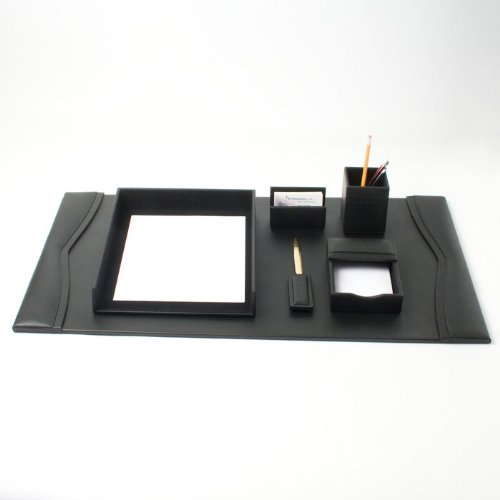 Bonded Leather Desk Set (6 Piece) (Black Leather with Gold ()