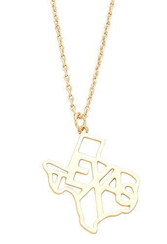 Rosemarie Collections Women's State Map Pendant Necklace Gold Color - Tx Macy Austin