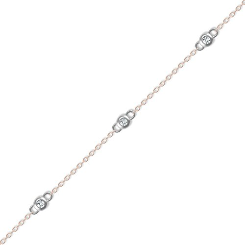 Jewelco London Silver CZ By The Inch Double Sided Necklace