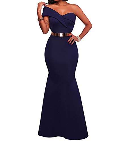 (SEBOWEL Women's Solid One Shoulder Ruffle Bodycon Party Long Dress Prom Gowns Ankle Length L Navy Blue)