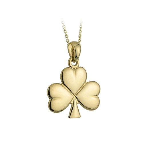 Gold Shamrock Pendant - Tara Solvar Shamrock Necklace Medium Gold Plated 18