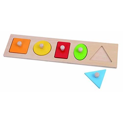 Tooky Toy - TKA142 - jouet de bois - puzzle géométrie - avec 5 différentes formes - à partir de 3 ans - plaisir garanti - 36 x 9 x 2 cm