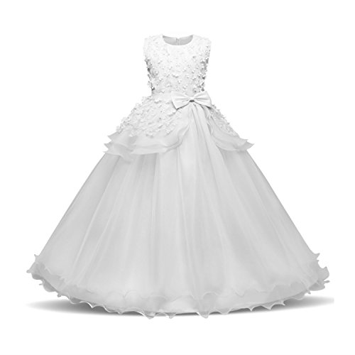 Acecharming Flower Pegeant Dress with Bowknot Fluffy Tulle Ball Prom Birthday Wedding Floor Length Gown for 13-14 Years(White