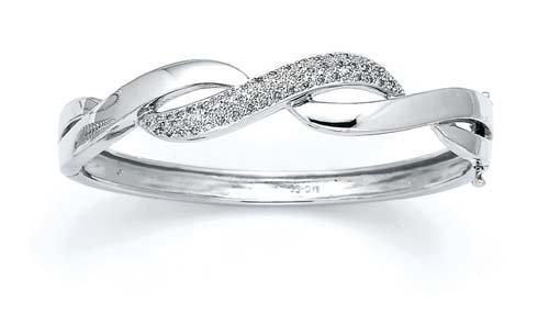 Argent Sterling de diamants bruts Open 7 pouces Bracelet JewelryWeb