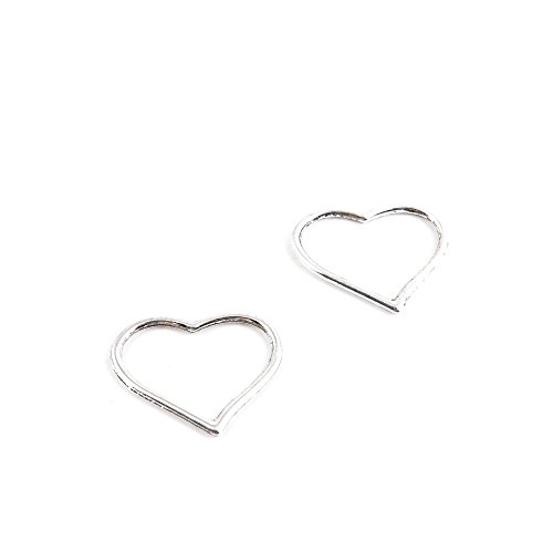 Heart Charm Findings (30 Pieces Antique Silver Tone Jewelry Making Charms H2KE3 Love Heart Pendant Ancient Findings Craft Supplies Bulk)