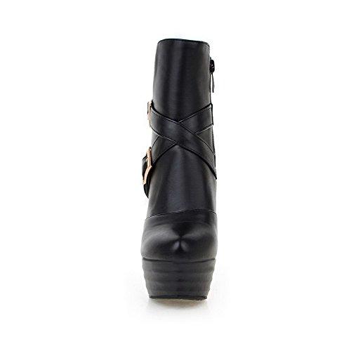 Low Women's top AgooLar Boots PU Zipper Black High Heels Solid YFqfOw