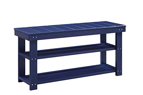 Convenience Concepts Oxford Utility Mudroom Bench, Cobalt Blue