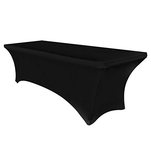 Obstal 6ft Stretch Spandex Table Cover for Standard Folding Tables - Universal Rectangular Fitted Tablecloth Protector for Wedding, Banquet and Party (Black, 72 Length x 30 Width x 30 Height Inches) (Rectangular Size Table Standard Of)