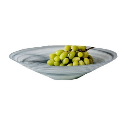 Shiraleah Large Grey Frosted Alabaster Shallow Bowl (Shallow Stone Bowl)