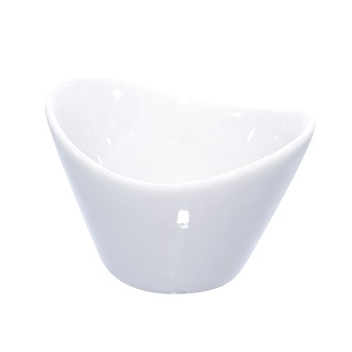 Mini Porcelain Egg Shaped Bowl (Case of 24), PacknWood - White Ceramic Reusable Bowls (1.1 oz, 2.6