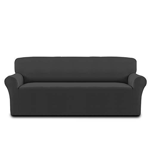 Cotton Stretch Sofa Slipcover Sofa Cover Furniture Protector Sofa Shield Couch Soft Sturdy with Elastic Bottom Anti-Slip Foam Pets,Kids,Children,Dog,Cat(Oversized Sofa,Dark Gary)