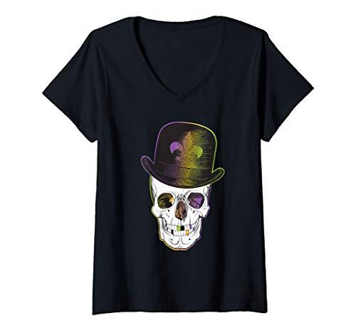 Womens New Orleans Creole Voodoo Skull Halloween V-Neck T-Shirt (Best Jazz On Frenchmen Street New Orleans)