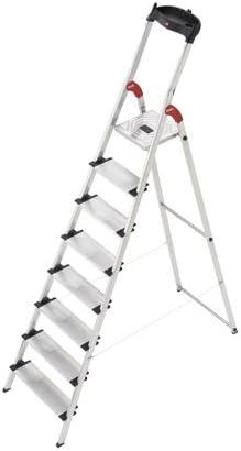 Hailo L60 - Escalera doméstica de Aluminio, Bandeja Multifuncional, Gancho para Cubo y Pinza para Cable (8 peldaños): Amazon.es: Hogar