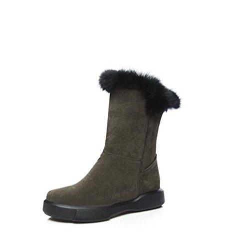 hembra de una plana botas base un gran ArmyGreen número botas Cabeza botas QX de redonda invierno caliente ZQ con microteléfono nieve de fpBqaR