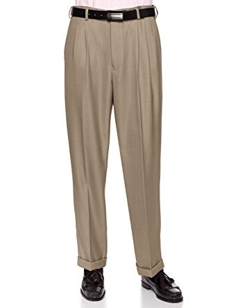 Giovanni Uomo Mens Pleated Front Dress Pants With Hidden Expandable Waist Sand-32 Short - Giovanni Sand