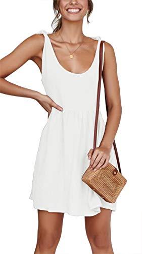 Women's Casual A-Line Beach Mini Dress Sleeveless Summer Tie Strap Sundress White XL