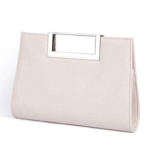 WALLYN'S Handbag for Women Evening Party PU Leather Convertible Clutch Purse with Chain (Beige)