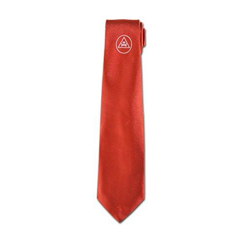 Royal Arch Triple Tau Red Satin Masonic Neck Tie