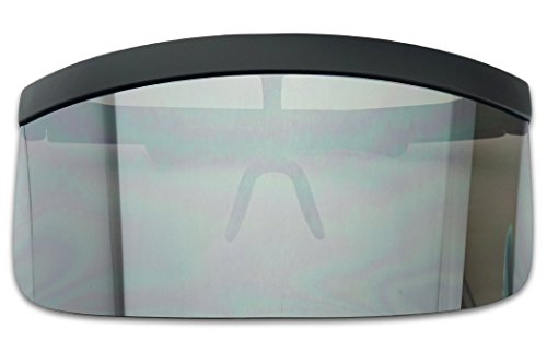 (Extra Large Mask Cover Shield Visor Style Sunglasses W/Flash Mirrored Mono Lens (Matte Black, Silver)
