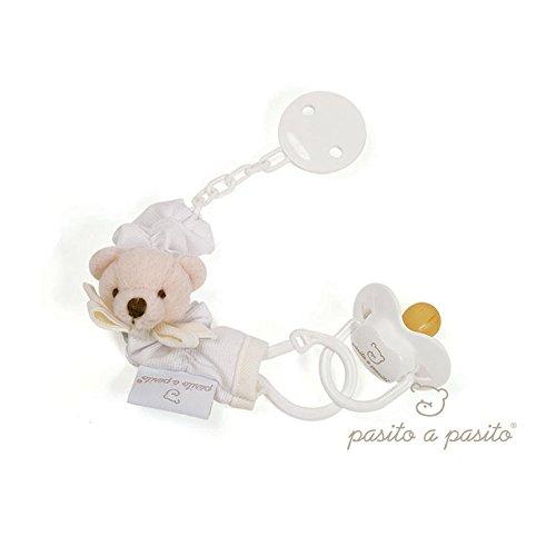pasitto A Pasito–Soother Clip Pasito A Pasito Pique White with Pacifier Beige