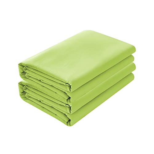 BASIC CHOICE 2-Pack Flat Sheets, Breathable 2000 Series Bed Top Sheet, Wrinkle, Fade Resistant - King/Cali King, Lime