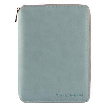 A6 Zipped Leather Conference Folder Business Document Bag Portfolio Grey