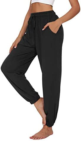 UEU Womens Yoga Joggers Pants High Waisted Loose Comfy Lounge Pants Cinch Bottom Casual Pants with Pockets 2