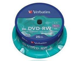 Verbatim DVD-RW 4.7Gb 4x Spindle 25 No 43639 blank dvd rewritable by Verbatim