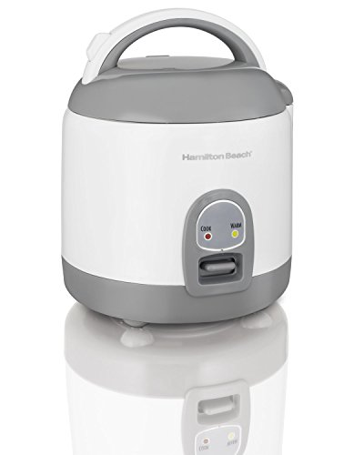 Hamilton Beach (37508) Rice Cooker with Rinser/Steam Basket, 4 Cups uncooked resulting in 8 Cups cooked, Mini, White by Hamilton Beach