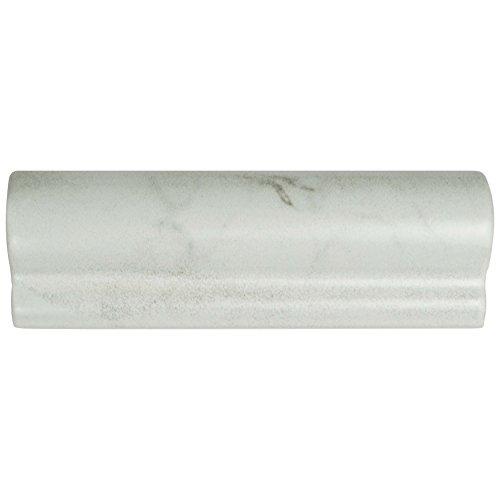 Rail Chair Ceramic Tile (SomerTile WEQCRMLC Murmur Carrara London Chair Rail Ceramic Wall Trim Tile, Matte, 2