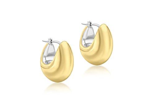 electroform Boucles d'oreilles créoles en or 9carats 2tons