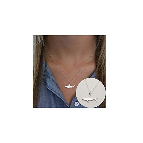 Frodete Cute Shark Pendant Marine Animal Necklace for Women Ocean White Fish Bady Chokers Necklace
