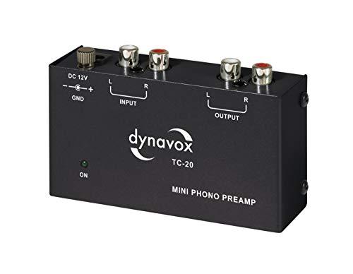 Dynavox TC-20 Phono-voorversterker, compacte aluminium behuizing, voor platenspeler met MM-bemonsteringssystemen, zwart