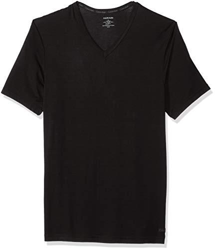 Calvin Klein Men's Ultra Soft Modal Short Sleeve V-Neck T-Shirt, Black, L