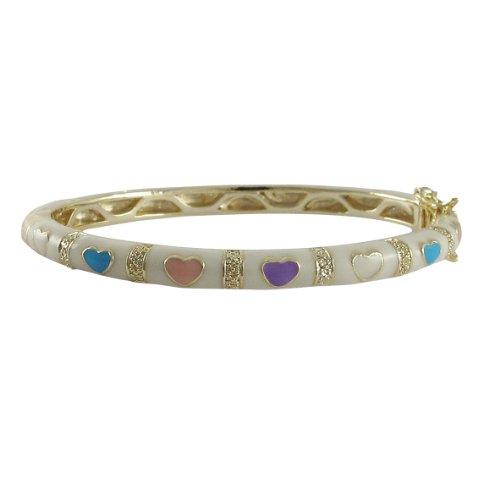 Ivy and Max Gold Finish White Enamel Multi-Color Hearts Girls Bangle Bracelet (50mm) ()