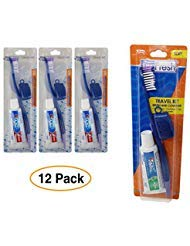 ToothBrush & Cover Travel Kit with Crest Toothpaste (12 Pack) by Dr. Fresh & Crest