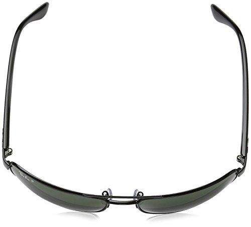 Ray Ban Mens RB3445 002/58  Black/Green, Polarized Aviator 61mm Sunglasses