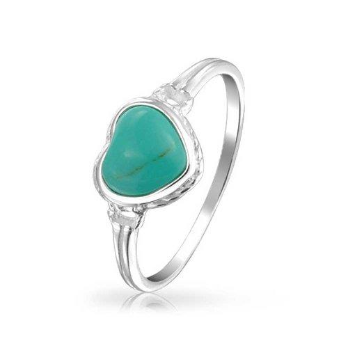 8 Mm Turquoise Heart - Blue Stabilized Turquoise Bezel Heart Ring For Women For Teen For Girlfriend 925 Sterling Silver December Birthstone
