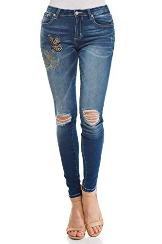 Monkey Ride Jeans Women's Skinny Distressed Denim with Butterfly Stitching Jeans 5, DK/Blue