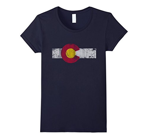 Womens Vintage Patriotic Flag Of Colorful Colorado Shirt Xl Navy
