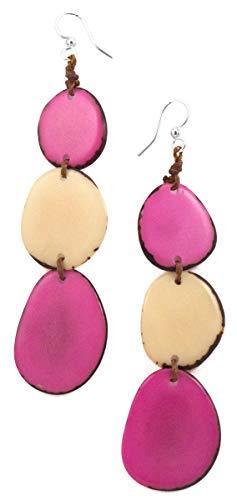 Organic Tagua Bali Drop Earrings Ecuador Pink and Ivory