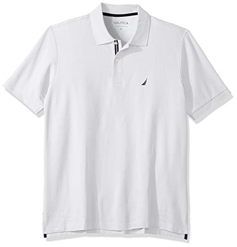 Nautica Men's Classic Fit Short Sleeve Solid Performance Deck Polo Shirt, Bright White, 2X Big