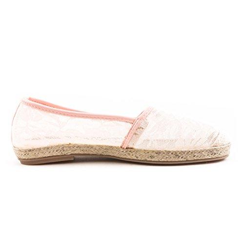 Marimo Damen Espadrilles Sommer Slipper Ballerinas mit Bast Spitze Pink