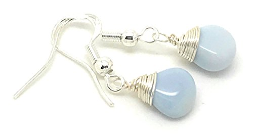 Agate Blue Agate Ring (Blue Lace Teardrop earrings, Meditation earrings, blue agate earrings)