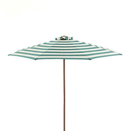 (Heininger Classic Wood 9 ft Round Market Umbrella - Soft Teal/Ivory Stripe)