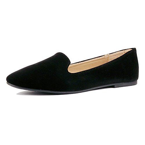 Guilty Heart | Women's Faux Suede Comfortable Closed Toe Slip On Ballet Loafer Flats Loafers & Slip-Ons, Black Suede, 7 B(M) US