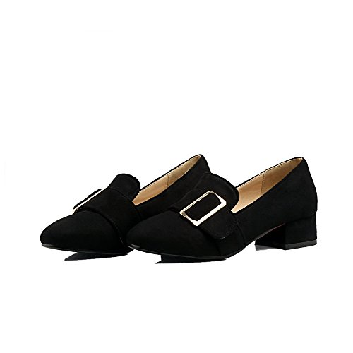 Shoes Heels WeiPoot Women's Toe Black Pull Pumps Frosted On Low Solid Closed vAqnqxpgwr