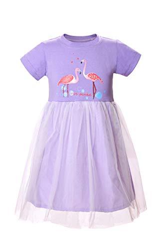 (Eocom Little Girls Soft Summer Cotton Short Sleeve Dresses T-Shirt Casual Cartoon Dress Outfit 2-7 Years (Purple Flamingo,)