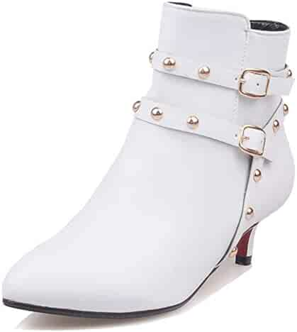 2450e92eb1 Aisun Women's Sexy Studded Buckle Strap Stiletto Kitten Heel Booties Pointy  Toe Ankle Boots with Zipper